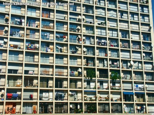 Very regular residential buildings in the second big city in France, Marseille
