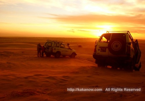 Amazing sunset in the Sahara Desert in Tunisia, North Africa