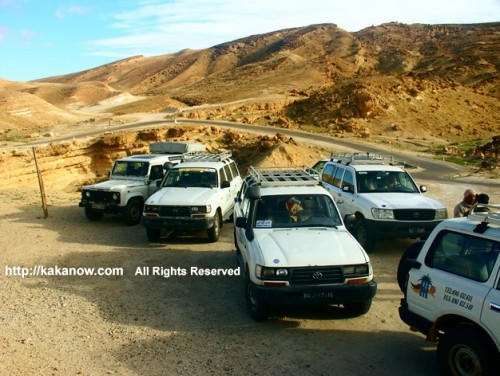 Our 4x4 group on the way to Sahara Desert in Tunisia, North Africa.