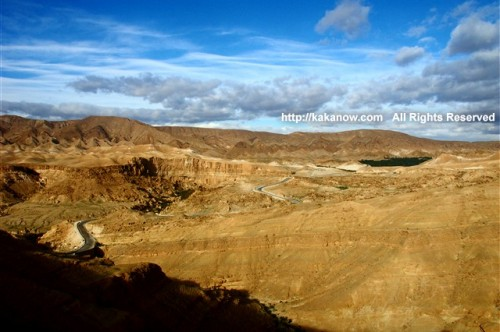 Set out to the Sahara Desert. Beautiful mountain and small oasis, Tunisia, North Africa