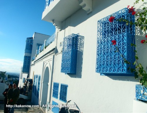 Beautiful windows in Sidi-Bou-Said, the blue and white town in Tunisia, Mediterranean coast, North Africa