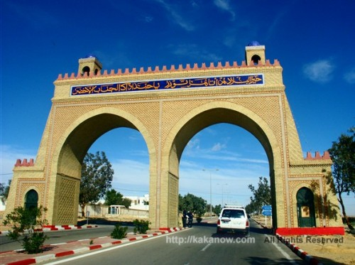 A traditional style gate at the highway, Tunisia, North Africa
