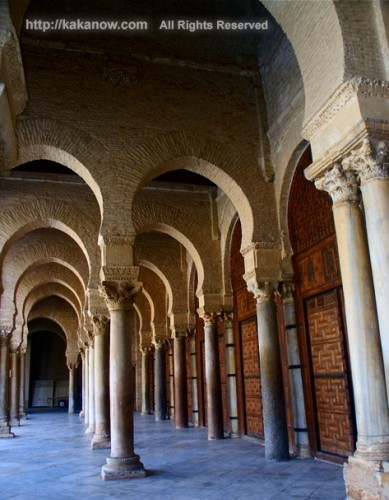 You can see roman columns in this mosque, Tunisia, North Africa