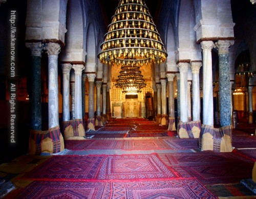 The mosque inside you can see roman columns, Tunisia, North Africa