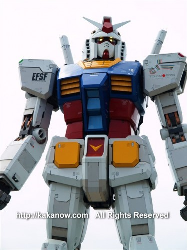 This Gundam model is 1:1 full size just like the size in the animation. Japan, Tokyo, Shiokaze Park, Photo by kaka