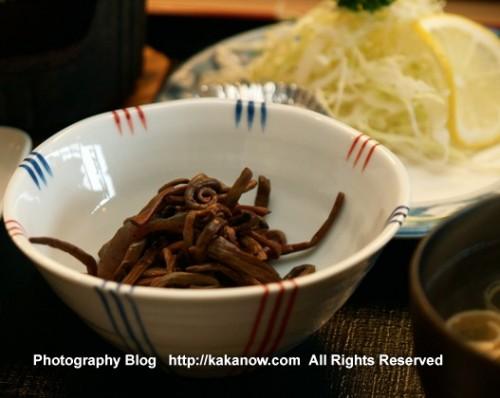 Japanese pickles set supper at Lake Kawaguchi. Japan, Mount Fuji, Photo by KaKa.