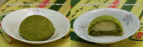 Japanese Wagashi, Fuji Mountain Green Tea cake. Price is 950 Yen about $10 USD. Japanese specialty snacks, Photo by kaka.