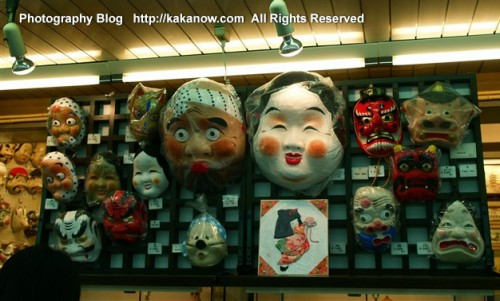 The mask in Tokyo Nakamise Street, Asakusa Kannon Temple. Japan travel. Photo by KaKa.