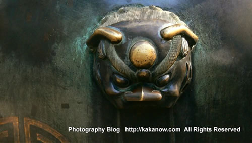 Beast head on the bronze fire water tanks, Yiheyuan(the summer palace), Beijing, China. Photo by KaKa.