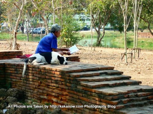 Thailand travel, Ayutthaya, Wat Lokayasutha Temple, leisure reading. Photo by KaKa.