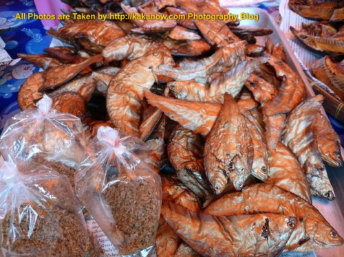 Thailand travel, Ayutthaya, Traditional market, Thai style snack Dried Fish. Photo by KaKa.