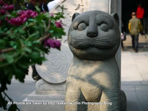 China travel, Shandong Province, Jinan. Guard stone tiger in the Baotu Spring Park. Photo by KaKa.